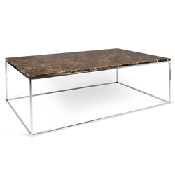Gleam Brown Marble Top + Chrome Metal Base Rectangular Modern Coffee Table