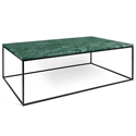 Gleam Green Marble Top + Black Metal Base Rectangular Modern Coffee Table