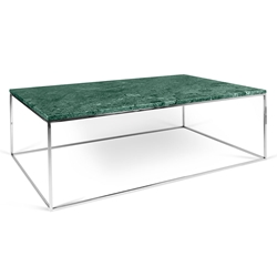 Gleam Green Marble Top + Chrome Metal Base Rectangular Modern Coffee Table
