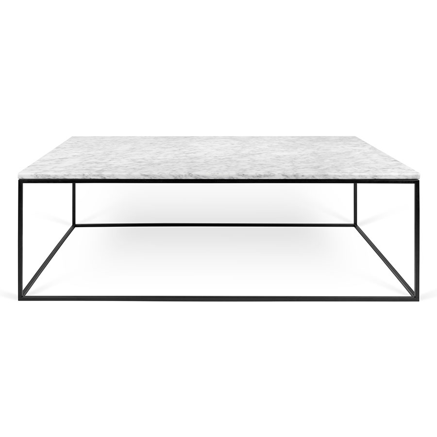 ... Gleam White Marble Top + Black Metal Base Rectangular Contemporary  Coffee Table ...