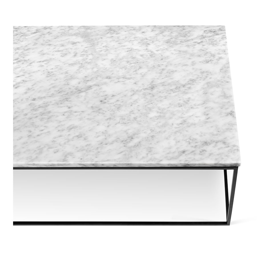 ... Coffee Table; Gleam White Marble Top + Black Metal Base Rectangular  Modern Cocktail Table