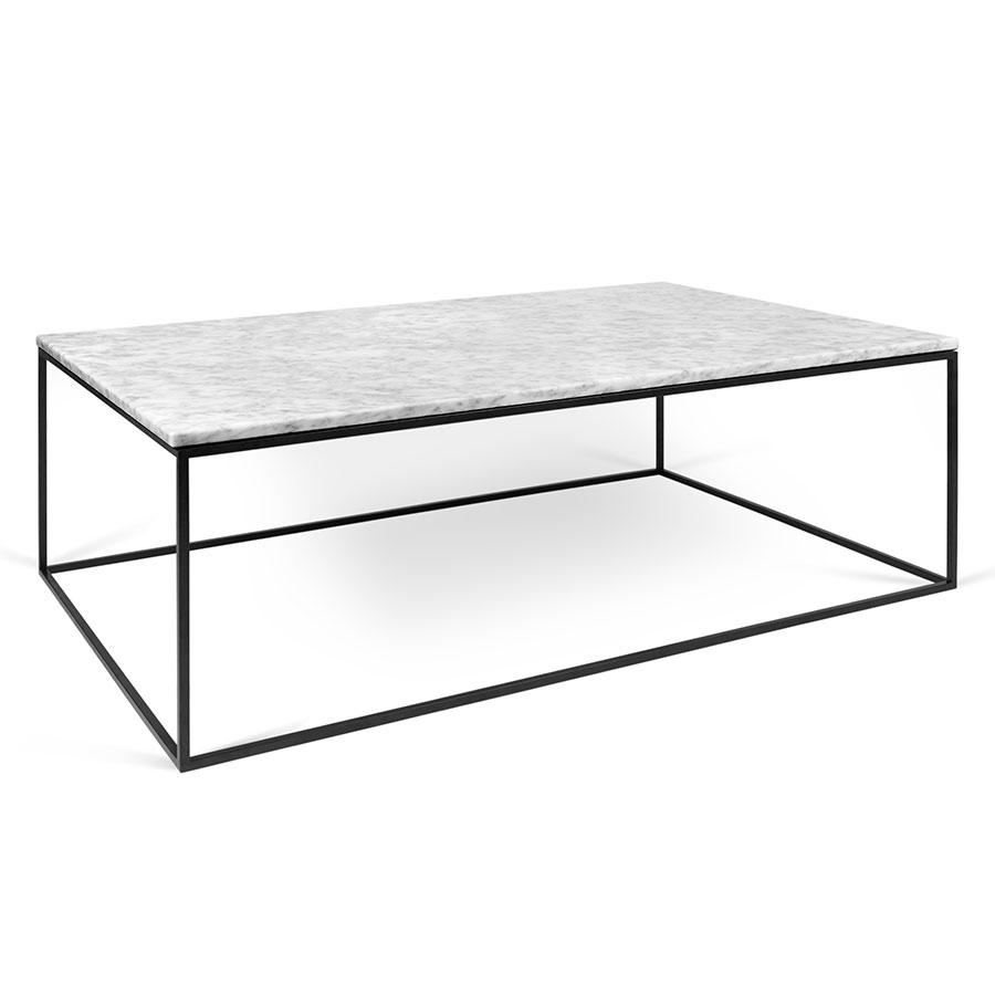 Gleam White Marble Top + Black Metal Base Rectangular Modern Coffee Table