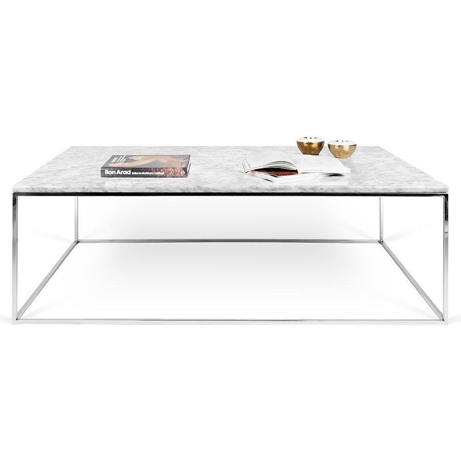 ... Gleam White Marble Top + Chrome Base Rectangular Modern Cocktail Table  ...