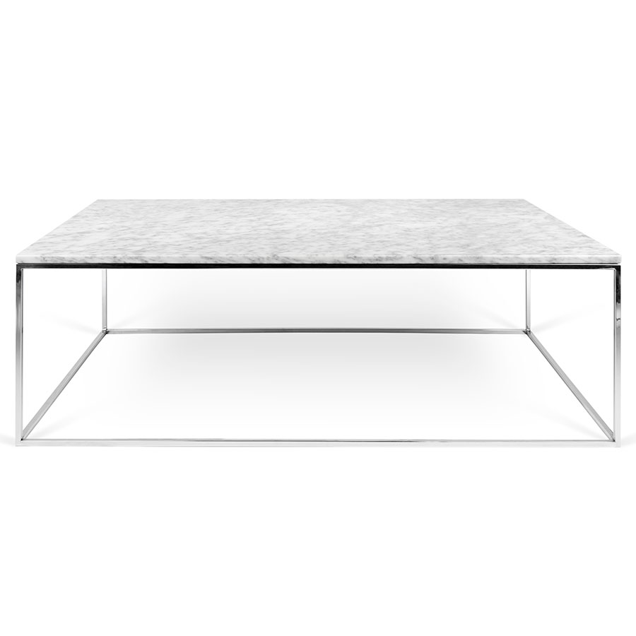 TemaHome Gleam White Marble Chrome Rect Coffee Table Eurway - Long marble coffee table