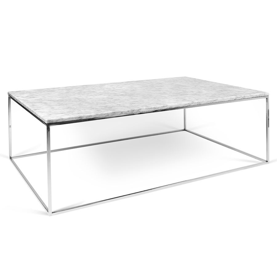 Gleam White Marble Top Chrome Base Rectangular Modern Coffee Table