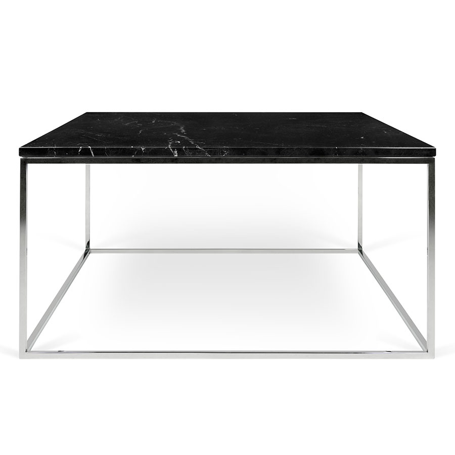 Gleam black marble chrome modern coffee table eurway gleam black marble top chrome metal base square contemporary coffee table geotapseo Gallery