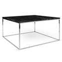 Gleam Black Marble Top + Chrome Metal Base Square Modern Coffee Table