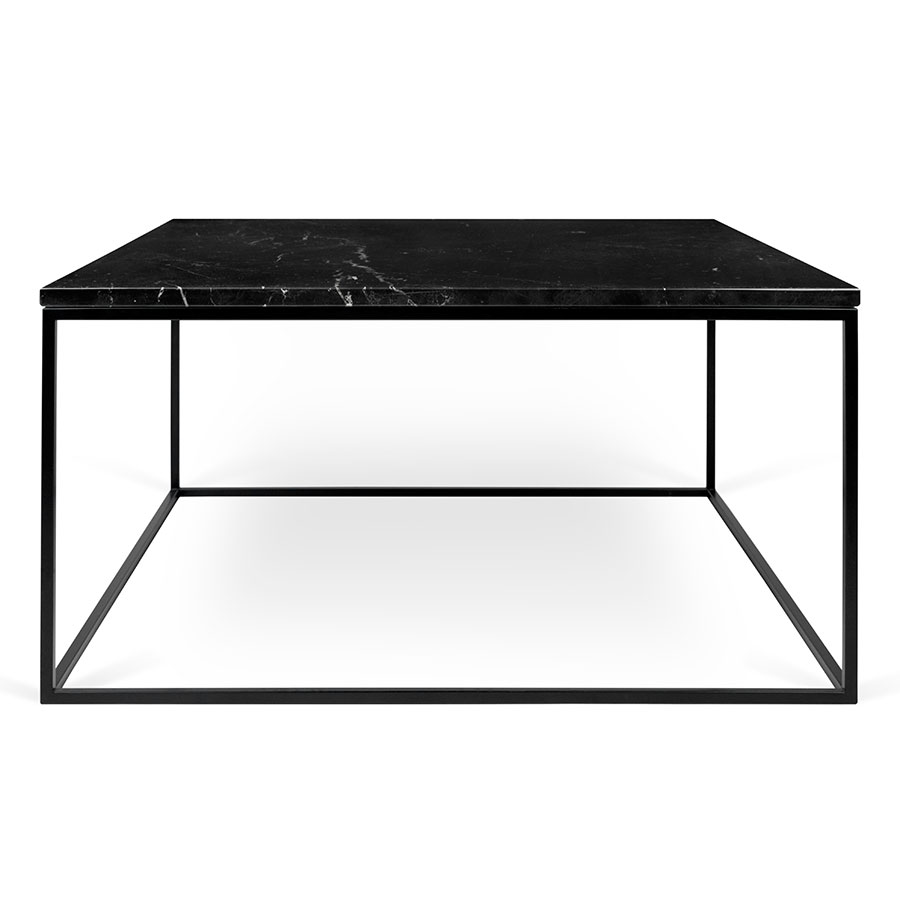 ... Gleam Black Marble Top + Black Metal Base Square Modern Cocktail Table  ...