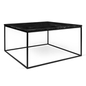 Gleam Black Marble Top + Black Metal Base Square Modern Coffee Table