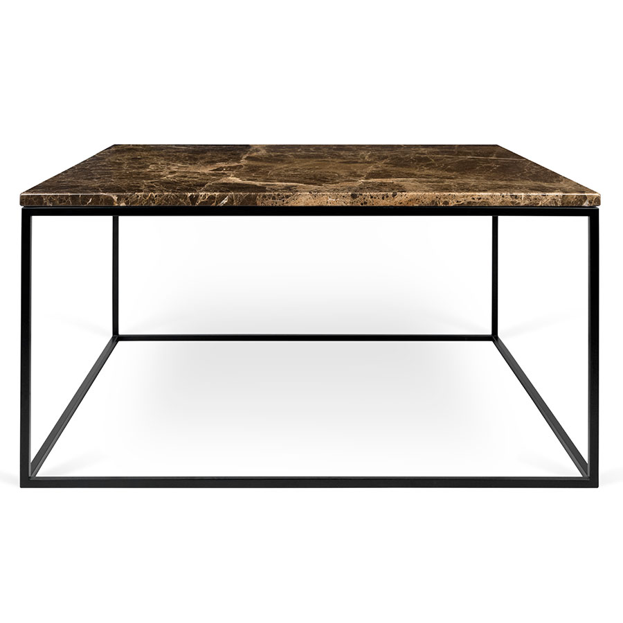 Gleam brown marble black modern coffee table eurway gleam brown marble top black metal base square contemporary coffee table geotapseo Choice Image
