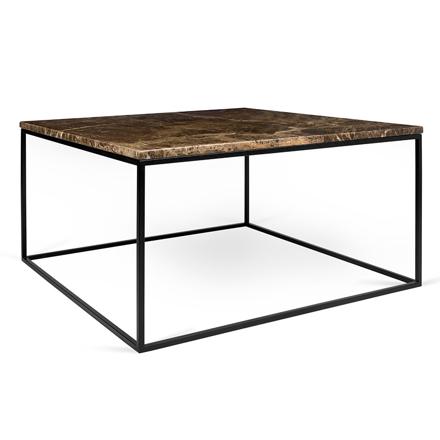 Gleam Brown Marble Top + Black Metal Base Square Modern Coffee Table