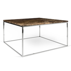Gleam Brown Marble Top + Chrome Metal Base Square Modern Coffee Table