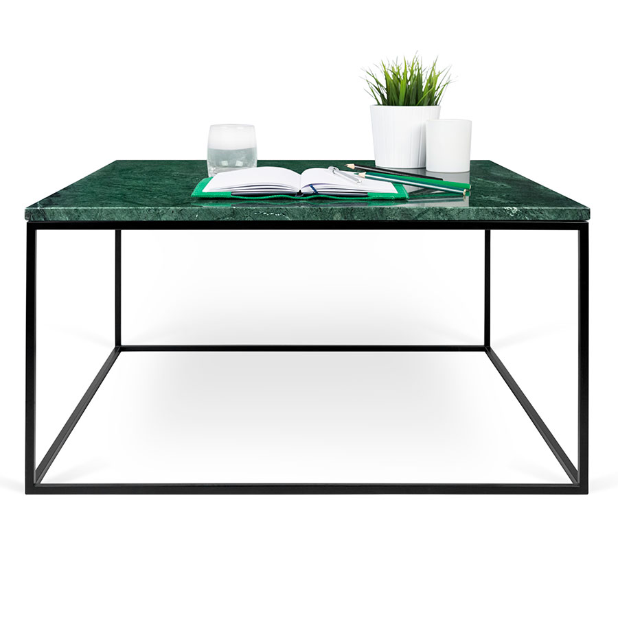 ... Gleam Green Marble Top + Black Metal Base Square Modern Cocktail Table