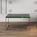 Gleam Green Marble Top + Chrome Metal Base Square Contemporary Cocktail Table