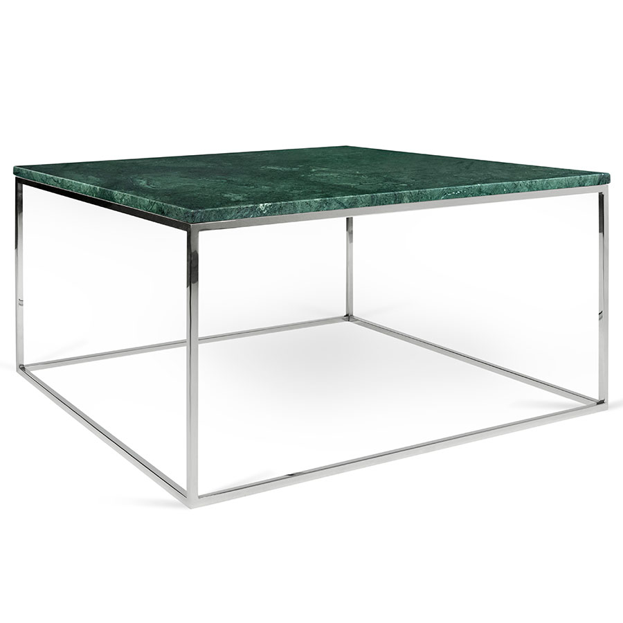 Gleam Green Marble Top + Chrome Metal Base Square Modern Coffee Table