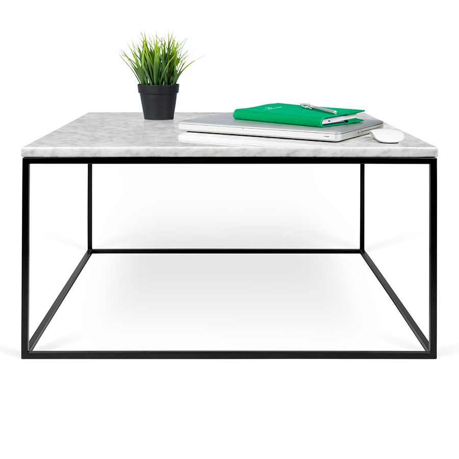 Good ... Coffee Table; Gleam White Marble Top + Black Metal Base Square Modern  Cocktail Table