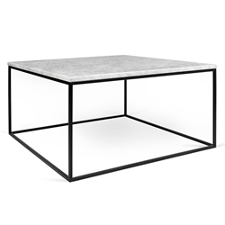 Gleam White Marble Top + Black Metal Base Square Modern Coffee Table
