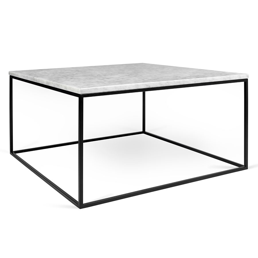 Gleam White Marble Top Black Metal Base Square Modern Coffee Table