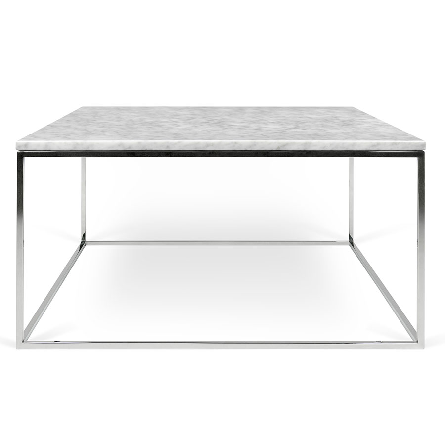 Gleam White Marble Top Chrome Metal Base Square Contemporary Coffee Table
