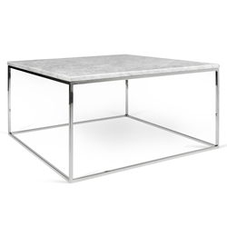 Gleam White Marble Top + Chrome Metal Base Square Modern Coffee Table