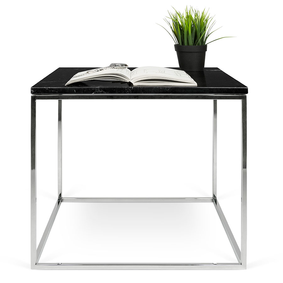 gleam black marble top  chrome metal base square modern end table . gleam black  chrome marble modern side table  eurway