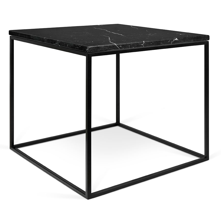 gleam black marble top  black metal base square modern side table. gleam black marble modern side table  eurway furniture