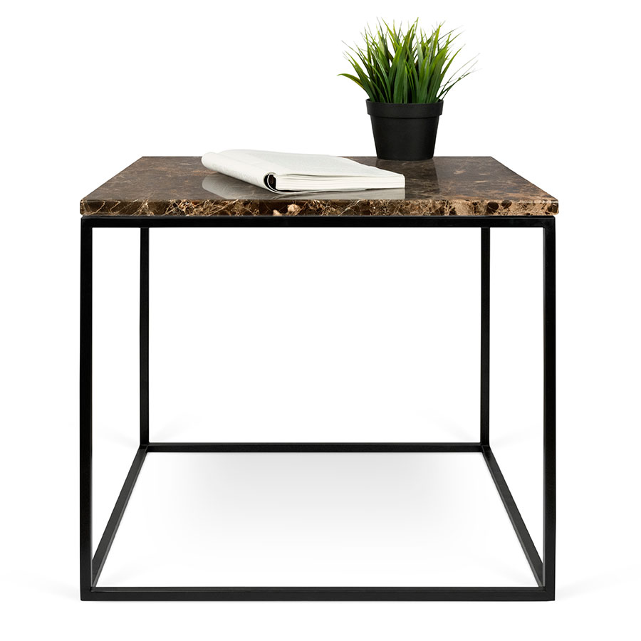 side table gleam brown marble top black metal base square modern end table