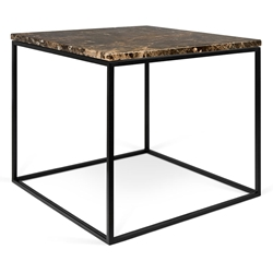 Gleam Brown Marble Top + Black Metal Base Square Modern Side Table