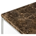 Gleam Brown Marble Top + Chrome Metal Base Square Modern End Table by TemaHome