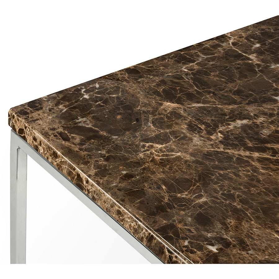 ... Gleam Brown Marble Top + Chrome Metal Base Contemporary Side Table Top  Corner Detail