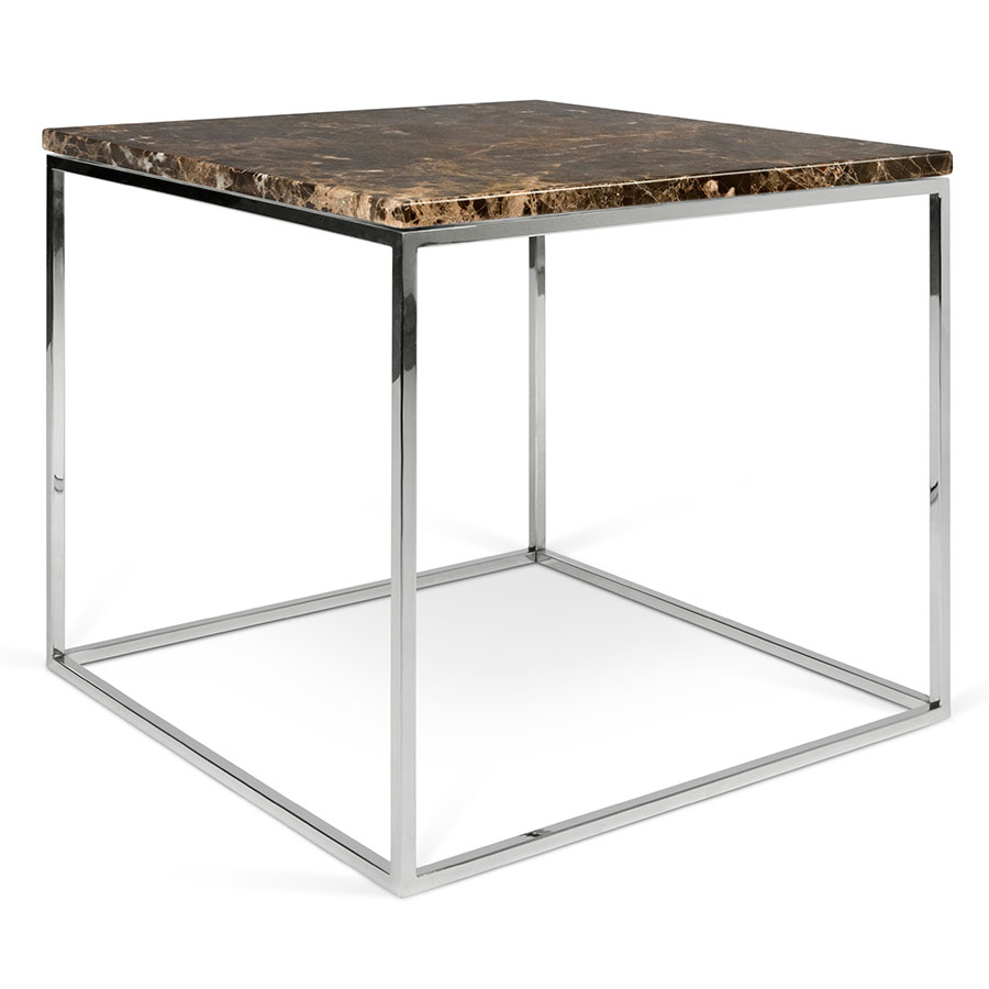 gleam brown marble top chrome metal base square modern end table