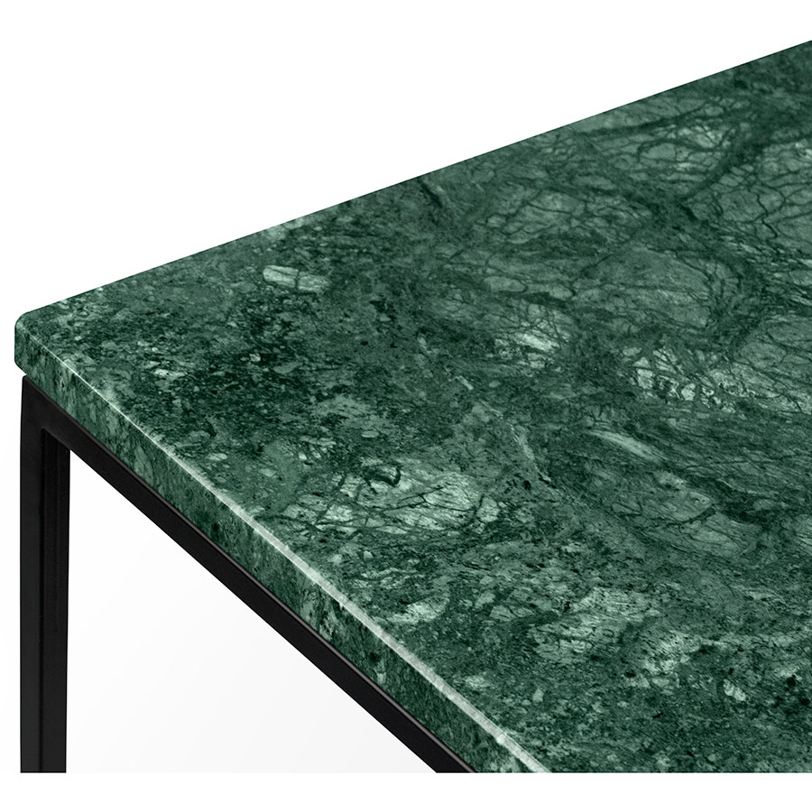 ... Gleam Green Marble Top + Black Metal Base Square Modern Side Table By  TemaHome