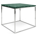 Gleam Green Marble Top + Chrome Metal Base Square Modern End Table