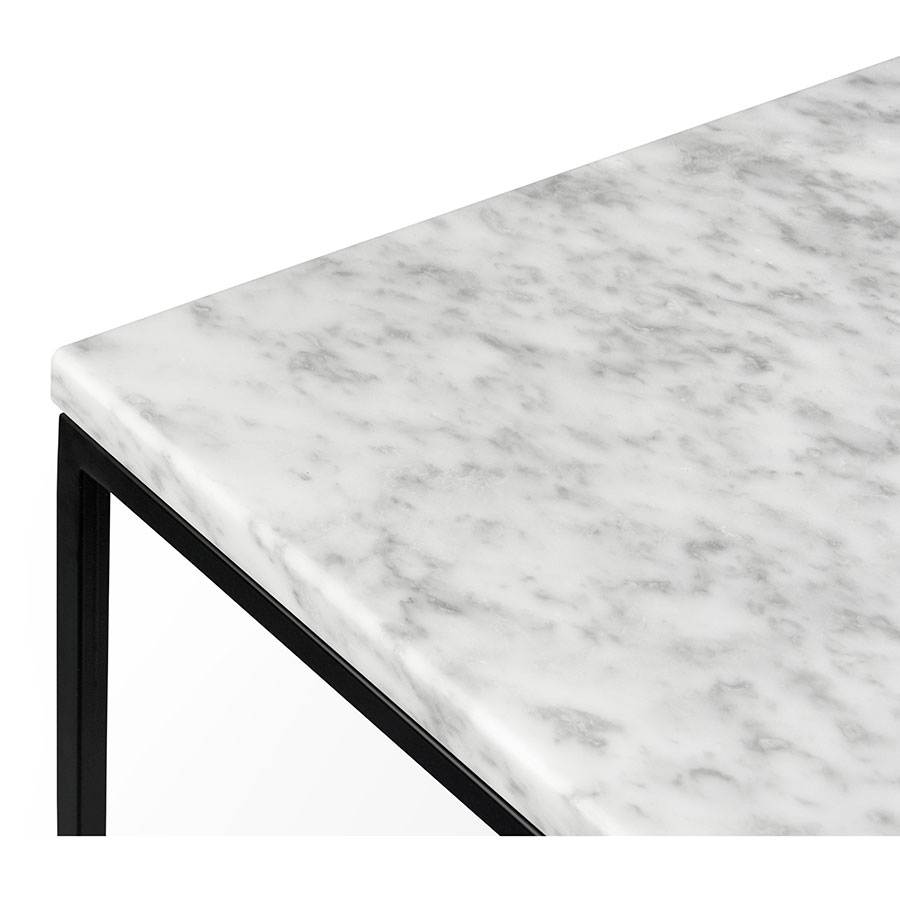 ... Gleam White Marble Top + Black Metal Base Square Modern End Table Top  Corner Detail