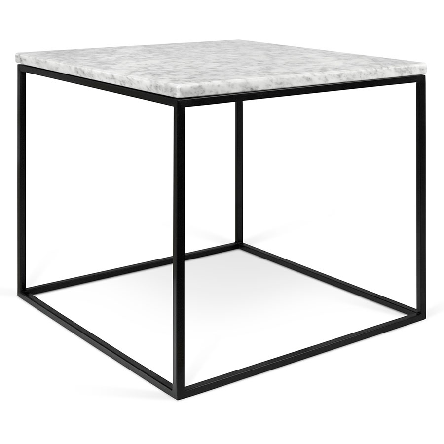 Gleam White Marble Top + Black Metal Base Square Modern Side Table