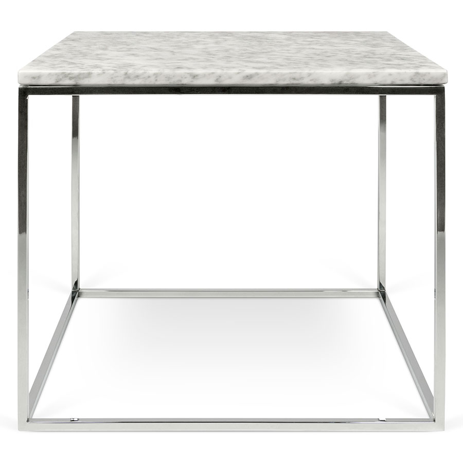 ... Gleam White Marble Top + Chrome Metal Base Square Contemporary Side  Table ...