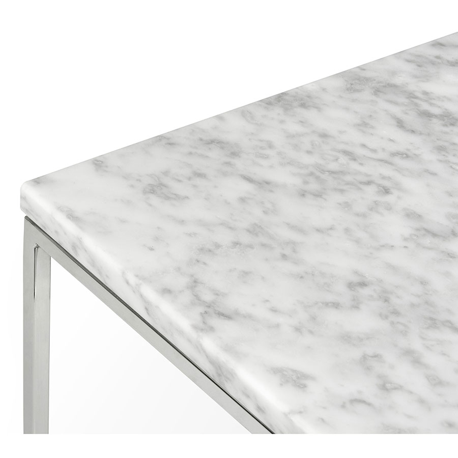 white marble table top. Gleam White Marble Top + Chrome Metal Base Square Modern End Table Corner Detail Q