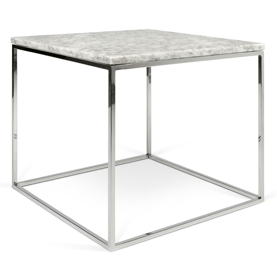 Gleam white chrome marble side table by temahome eurway for White side table