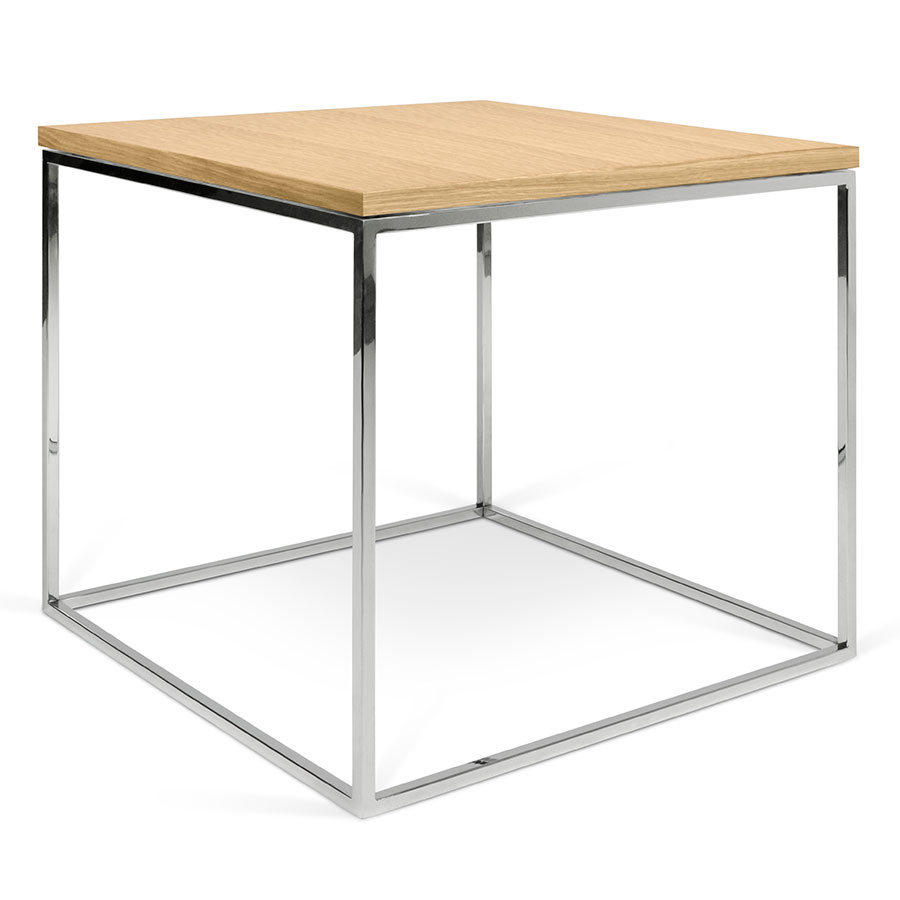 Gleam Oak Top Chrome Base Square Modern Side Table