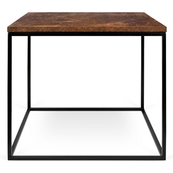 Gleam Rust Top + Black Base Square Modern Side Table by TemaHome