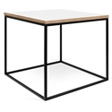 Gleam White / Ply Top + Black Base Square Modern Side Table