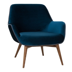 Grady Midnight Blue Velvet Like Polyester Fabric + Walnut Stained Ash Wood Modern Lounge Chair