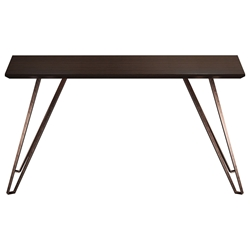 Modloft Grand Modern Console Table in Espresso Wood and Copper Metal