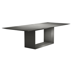 "Modloft Black Greenwich 106"" Modern Dining Table in Acier Gray Wood"