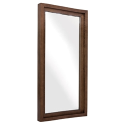 "Gregory 24"" Wide Walnut Wood Modern Wall Mirror"