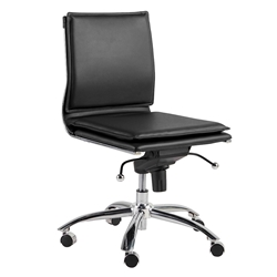 Gurue Black Leatherette + Chrome Modern Task Chair