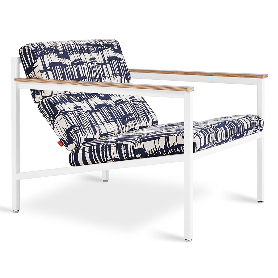 Gus Modern Franz Indigo Cream Fabric Upholstery With White Steel Frame And Wood Arms
