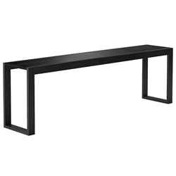 Modloft Hanover 102 in. Black Crocco Reclaimed Leather Modern Console Table
