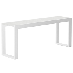 Modloft Hanover 79 in. White Crocco Reclaimed Leather Modern Console Table