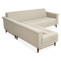 Harbord Loft Mid Century Modern Bi-Sectional Sofa in Leaside Driftwood Fabric Upholstery and Walnut Wood Base